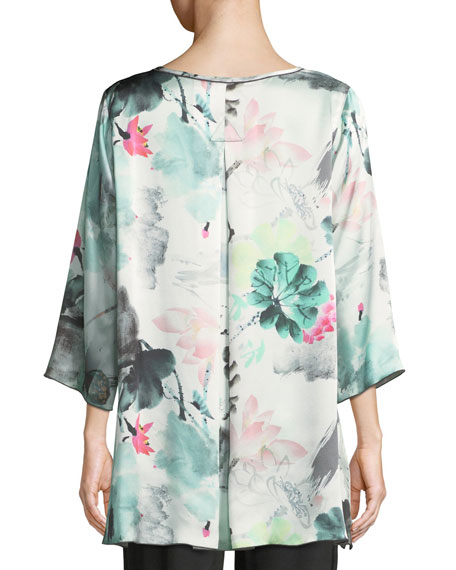 Paradise Found Floral-Print Silk Party Top