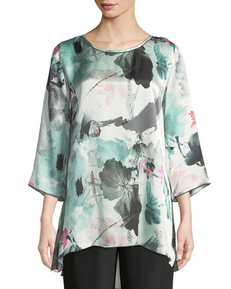 Caroline Rose Paradise Found Floral-Print Silk Party Top