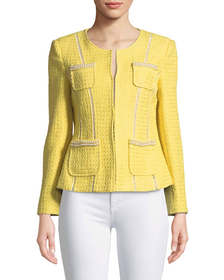 Plus Size Tweed Jacket with Pearl Trim