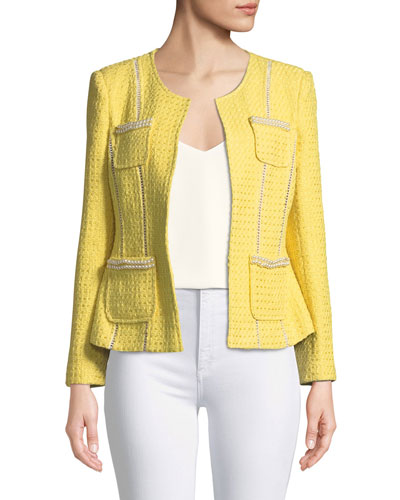 Tweed Jacket with Pearl Trim, Plus Size