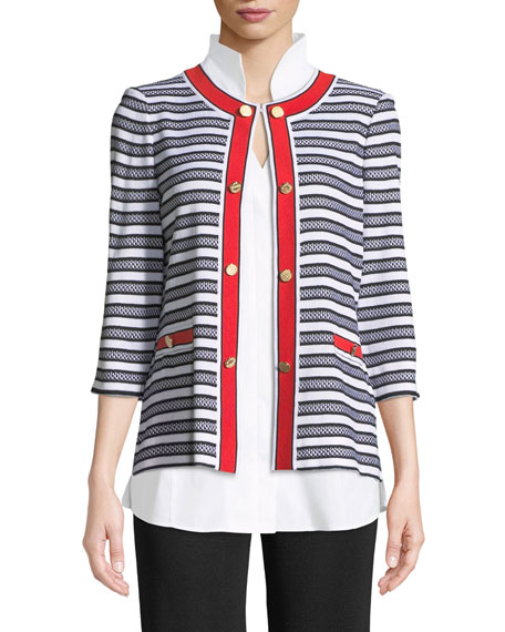 Button-Detail Striped Jacket, Plus Size