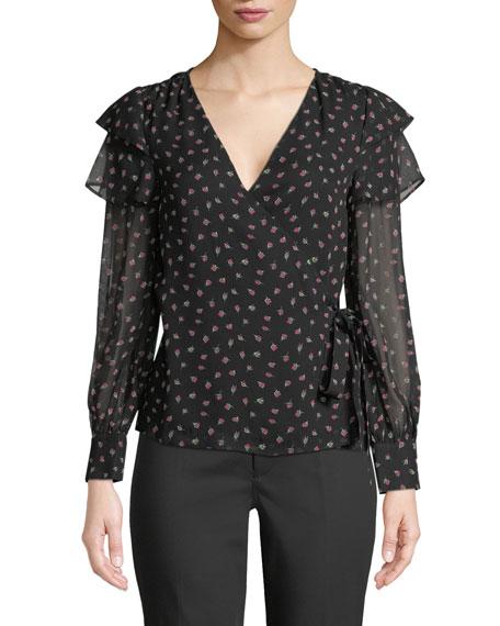 Strils Silk Wrap Long-Sleeve Blouse