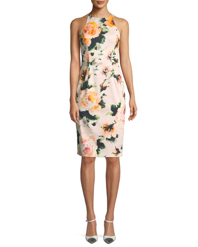 Montego Rose-Print Halter Sheath Dress