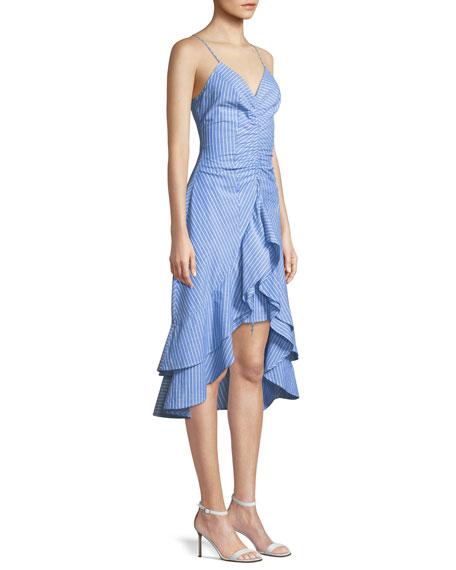 Eberta Striped Cotton High-Low Ruffle Dress