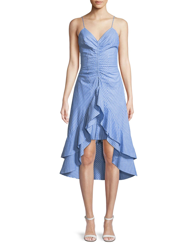 eee36cec1d Joie Eberta Striped Cotton High-Low Ruffle Dress