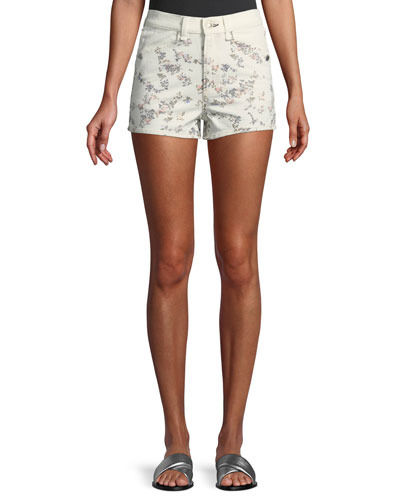 Ellie Floral-Print High-Rise Twill Shorts w/ Western Back Yoke