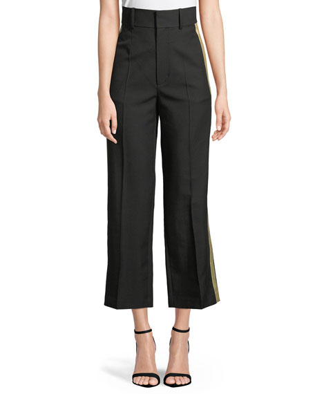 Exact Product: Shifted Cropped Side-Stripe Canvas Tux Pants, Brand: Helmut Lang, Available on: neimanmarcus.com