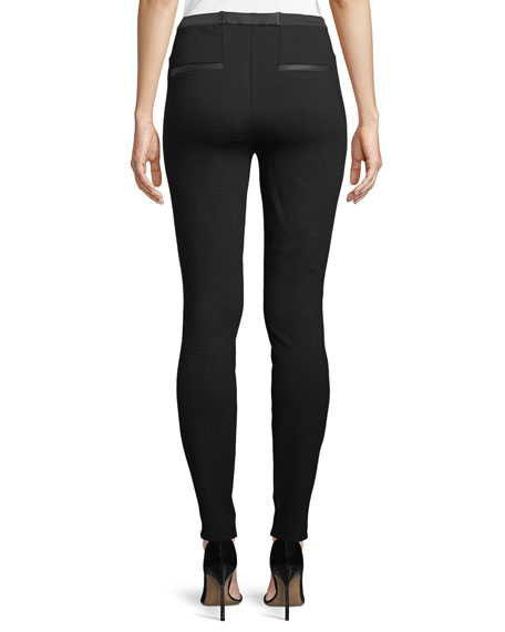 Ponte-Back Leather Leggings