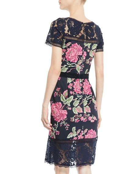 Short-Sleeve Lace & Pleated Floral Cocktail Dress