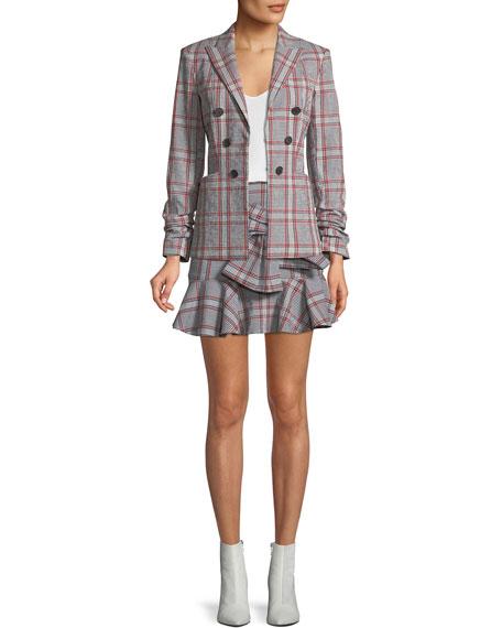 Draped Flounce Picnic Plaid Mini Skirt