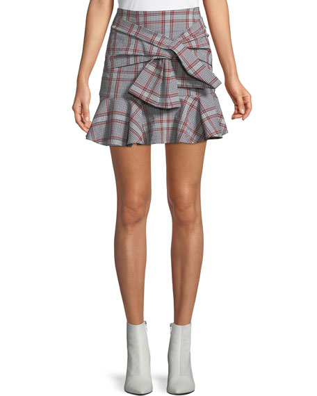 Veronica Beard Draped Flounce Picnic Plaid Mini Skirt