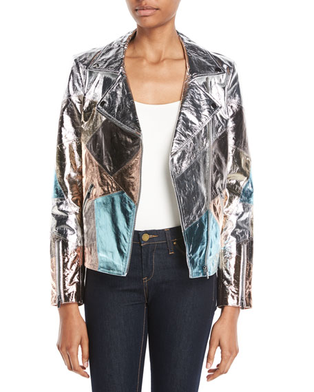 Neiman Marcus Leather Collection Patchwork Leather Moto Jacket