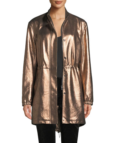 Metallic Leather Anorak Jacket