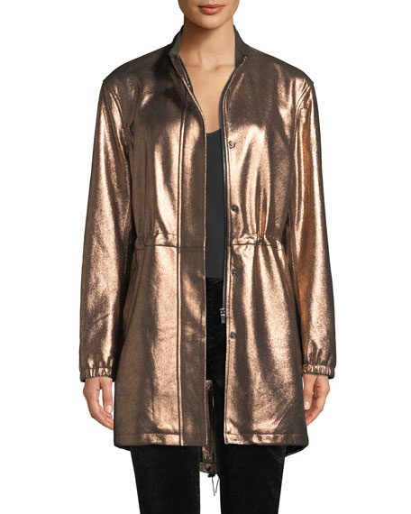 Neiman Marcus Leather Collection Metallic Leather Anorak Jacket