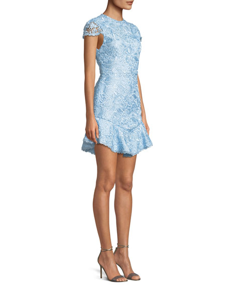 Rapunzel Curved-Hem Lace Fit-and-Flare Dress