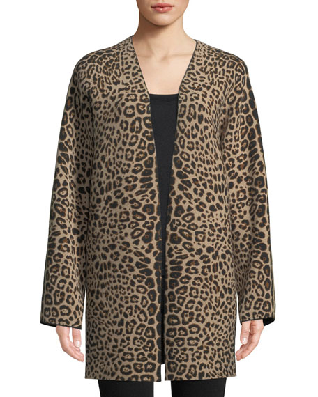Leopard-Print Cashmere Open-Front Cardigan