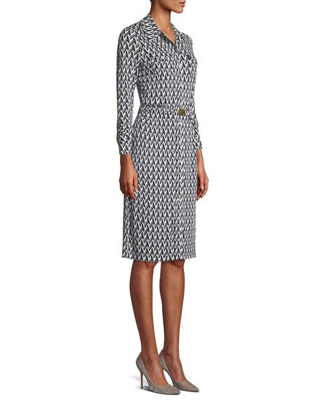 Crista T-Print Slinky Jersey Shirtwaist Dress