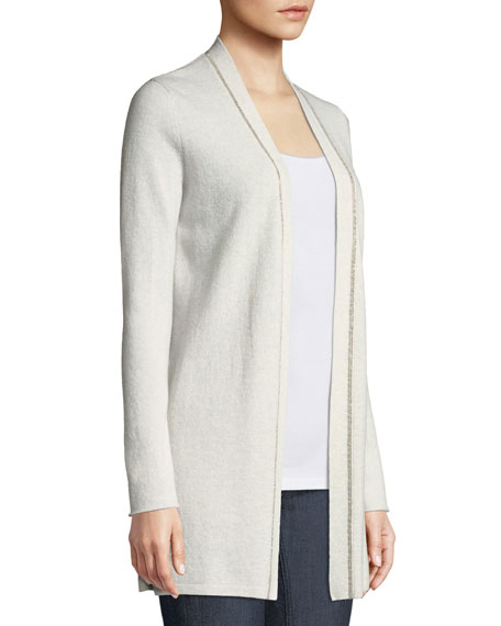 Chain-Trim Cashmere Duster Cardigan