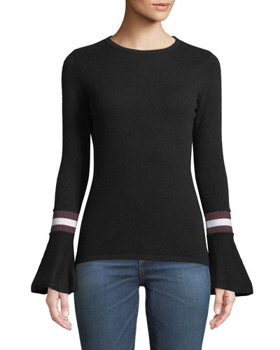Cashmere Striped Flare-Sleeve Sweater