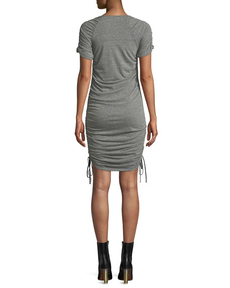 Image 2 of 4: Estella Ruched Drawstring Mini Dress