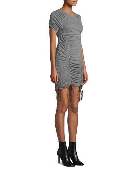 Image 3 of 4: Estella Ruched Drawstring Mini Dress