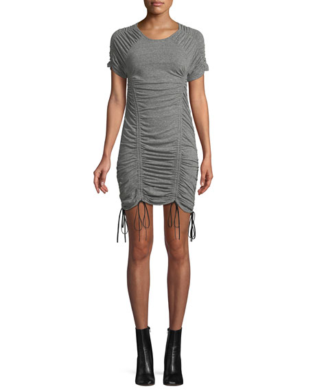 Image 1 of 4: Estella Ruched Drawstring Mini Dress