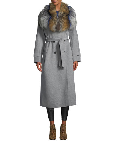 Blair Wool Coat w/ Tri-Color Fur Collar
