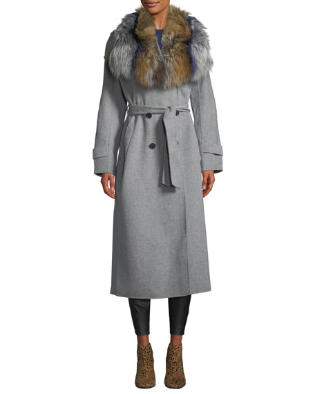 Mackage Blair Wool Coat w/ Two-Tone Fur Collar