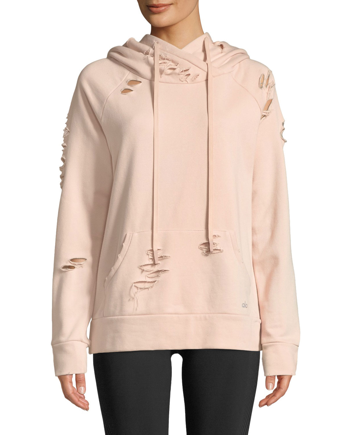 f4a9e0ac5ef23a Alo Yoga Ripped French Terry Pullover Hoodie Sweatshirt