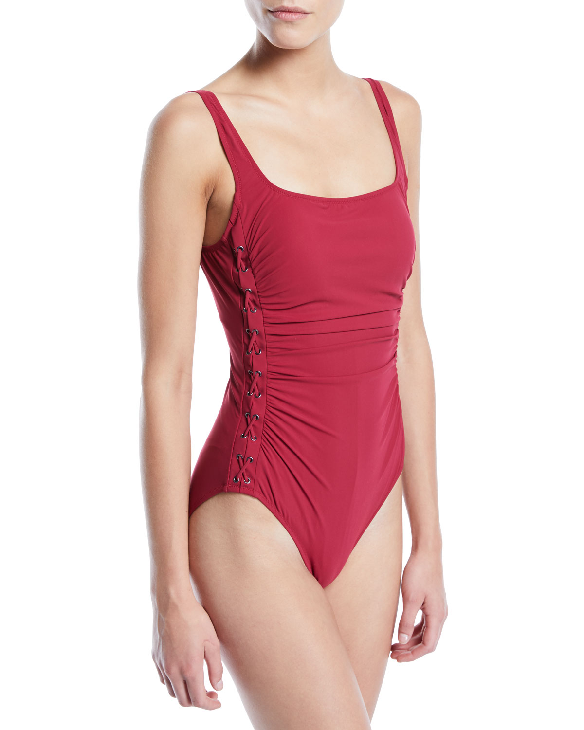 27028358696 Profile by Gottex Moto Lace-Up One-Piece Swimsuit | Neiman Marcus
