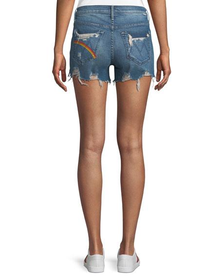 Rascal Rainbow High-Waist Distressed Denim Shorts