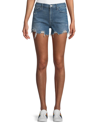 Rascal Rainbow High-Waist Distressed Denim Shorts
