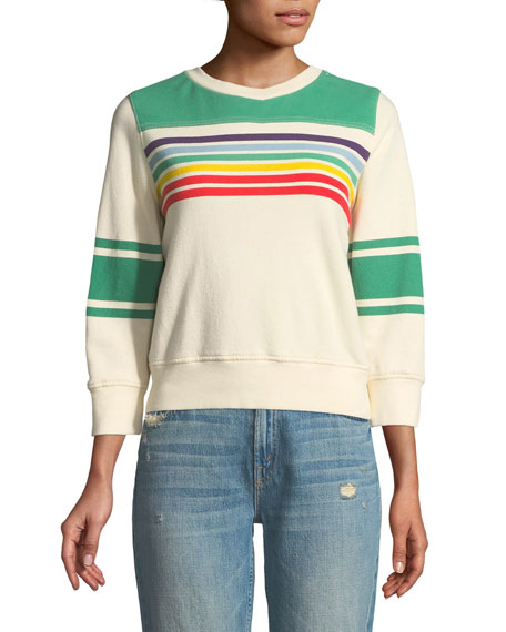 Striped Long-Sleeve Crewneck Sweatshirt