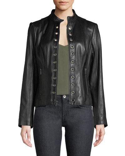 Grommet-Trim Lamb Leather Moto Jacket