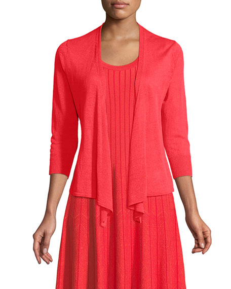4-Way Linen-Blend Knit Cardigan Sweater