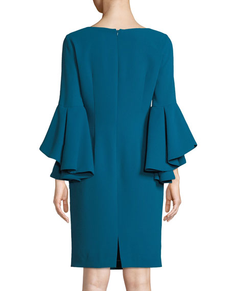 Badgley Mischka Collection Bateau-Neck Dress w/ Trumpet Sleeves