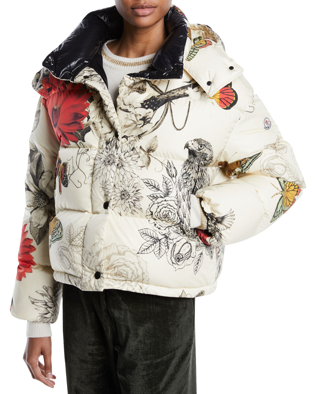 cfe00bb25 Caille Floral-Print Puffer Jacket w/ Removable Hood