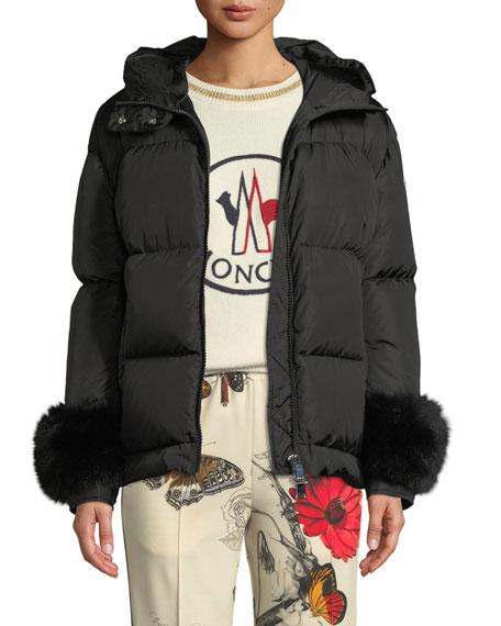 f96cdaf9d9f Moncler Effraie Hooded Fur-Cuff Jacket