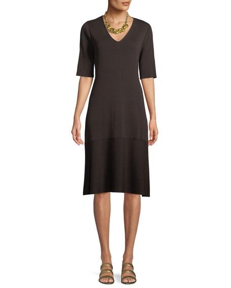 V-Neck Short-Sleeve Tencel® A-line Dress