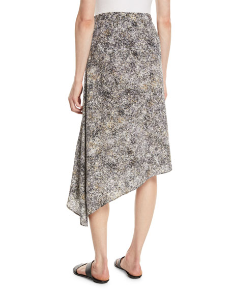 Eileen Fisher Asymmetric Willow-Print Silk Skirt