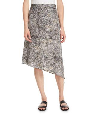 9acdc1a1b5 Eileen Fisher Asymmetric Willow-Print Silk Skirt
