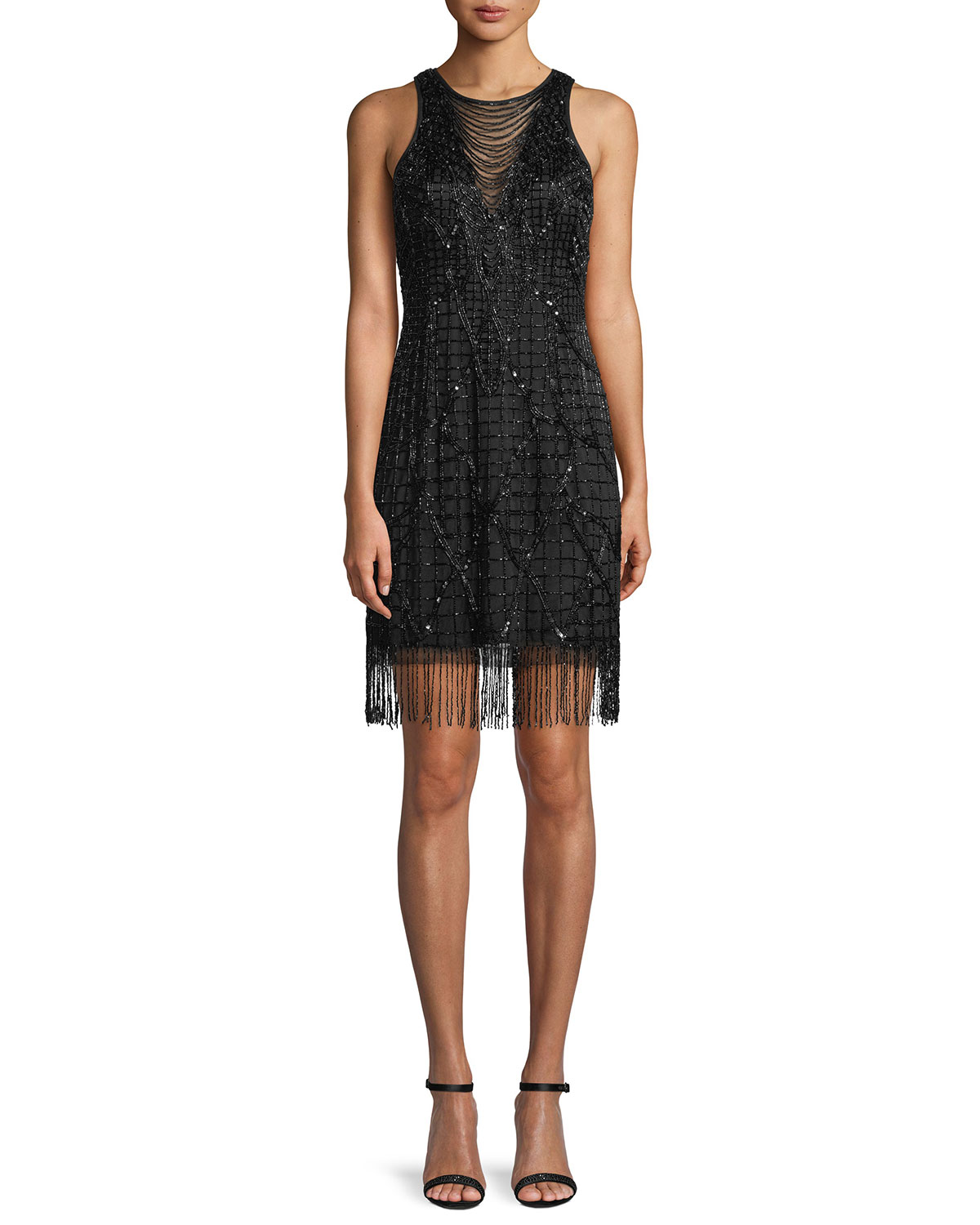 c98733ebdb01 Aidan Mattox Sleeveless Little Black Cocktail Dress w/ Beading & Fringe