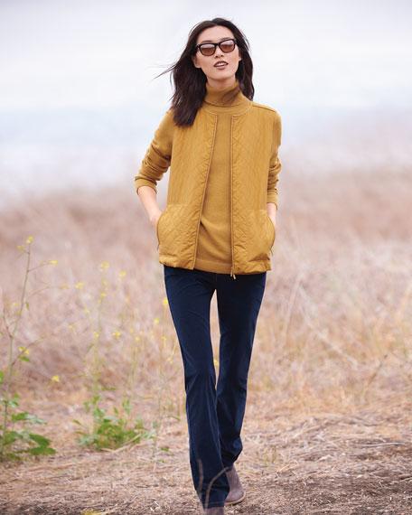 Metallic Cashmere Pullover Turtleneck Sweater