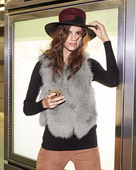 Adrienne Landau Short Fur Vest w/ Cutout Back
