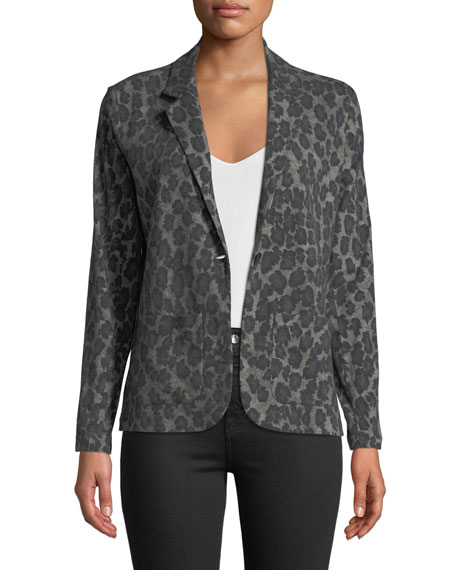 Majestic Paris for Neiman Marcus One-Button Leopard-Print Cotton/Cashmere Blazer