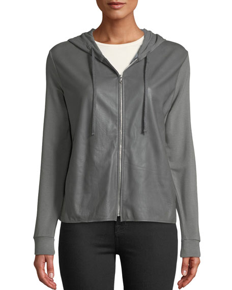 Majestic Paris for Neiman Marcus Leather-Front Zip-Front Hoodie