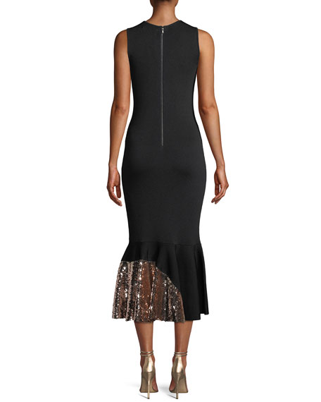 Sachin & Babi Noir Pepenella Sleeveless Knit Gown w/ Sequin Hem