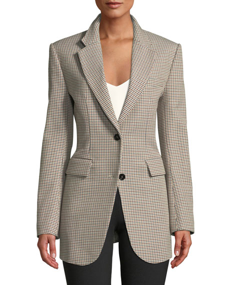 Theory Super-Cinch Fremont Plaid Long-Line Blazer