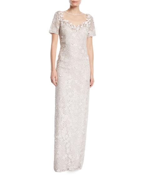 Lace Illusion Gown w/ 3D Flower Trim