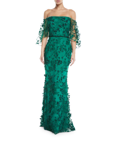 Marchesa Notte Off-the-Shoulder Gown w/ 3D Flower Lace | Neiman Marcus